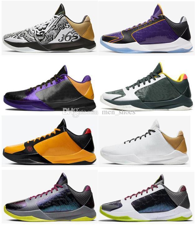 New Mamba Zoom 5 Protro Grande Scène Parade Lakers Eybl Bruce Lee Chaos 2020 Hommes Basketball Chaussures de sport Chaussures de sport avec la boîte