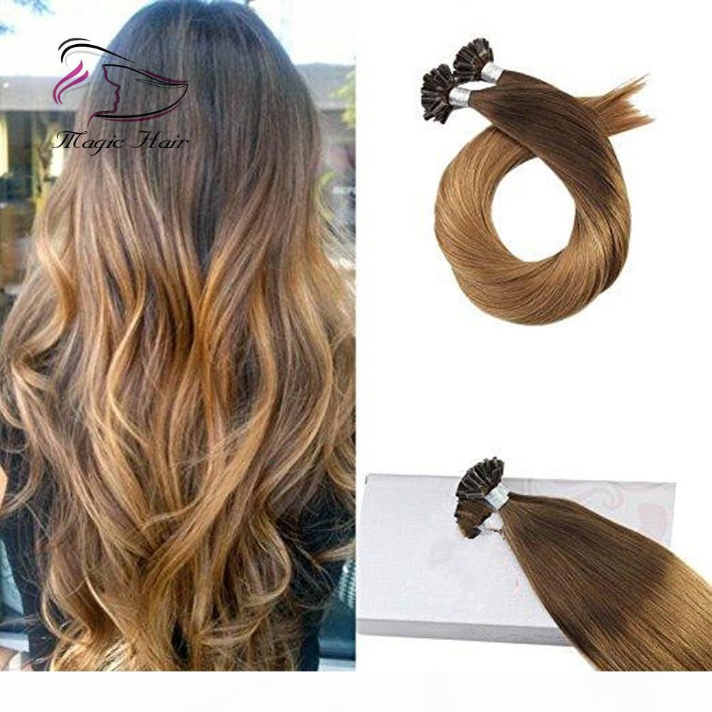 U Kératin Remy Remy Extension des cheveux humains du chocolat Brown # 4 ombre à Caramel Blonde # 27 (# T427)