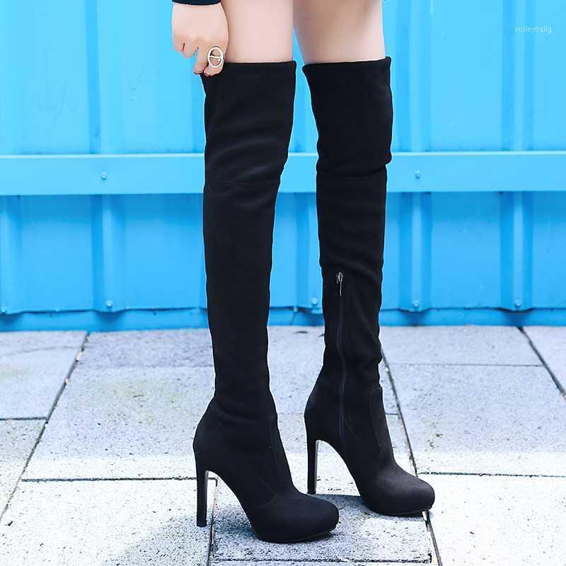 YMEKİK Siyah Gri Kahverengi Seksi Ince Süper Yüksek Topuk Çizmeler Kadın Uzun Platformu Kadın Ayakkabı Artı Boyutu Üzerinde Yüksek Boot 20201