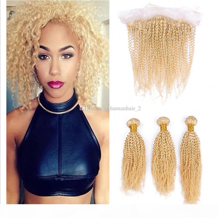 Kulak Dantel Frontal Kapatma için # 613 Sarışın Kinky Kıvırcık Dantel Frontal ile Paketler Afro Kinky Sarışın İnsan Brezilyalı Virgin Saç Kulak