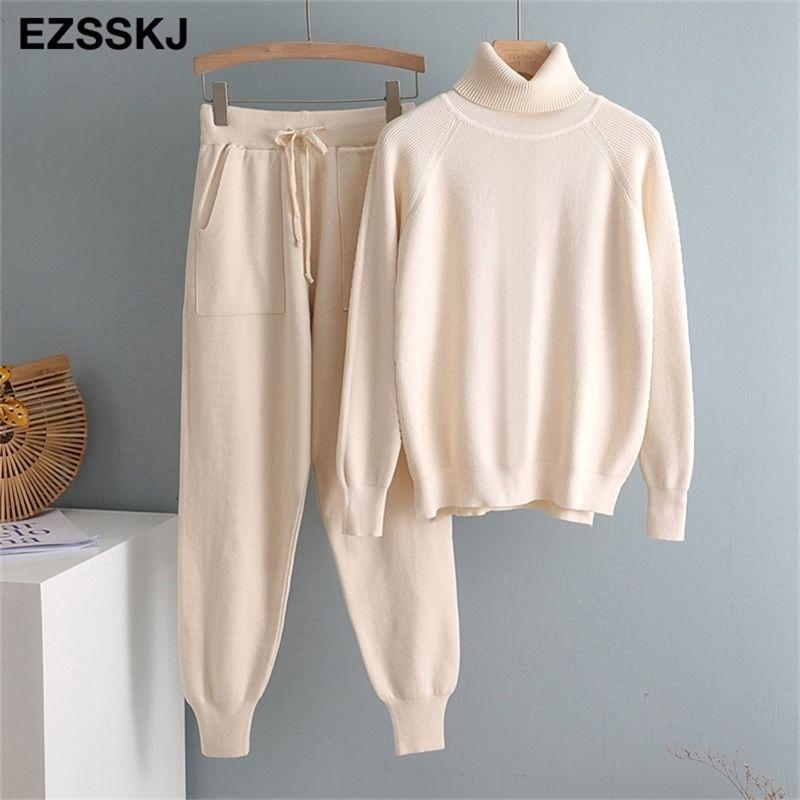 2 pezzi Donne Tracksuit TurtleNECK + carota Pantaloni da jogging Pantaloni pullover Maglione Set Chic Maglia Outwear Y201128