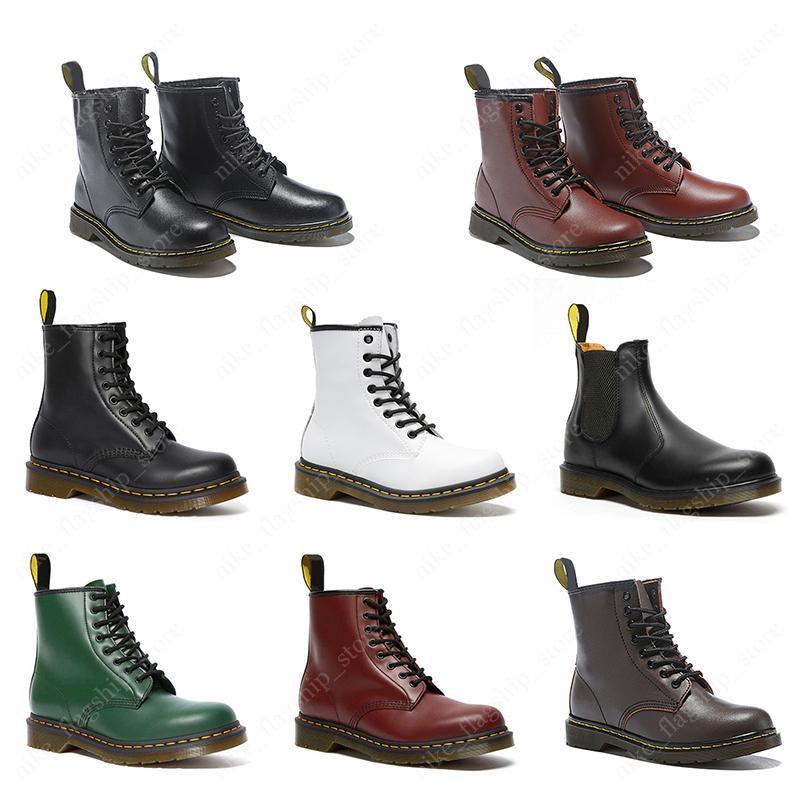 д-р Мартин мужчин ботинки женщин тройной черный белый вишня красного зеленый темно-синих моды стрижей гладкой девушка кожаных ботинок зимней обувь