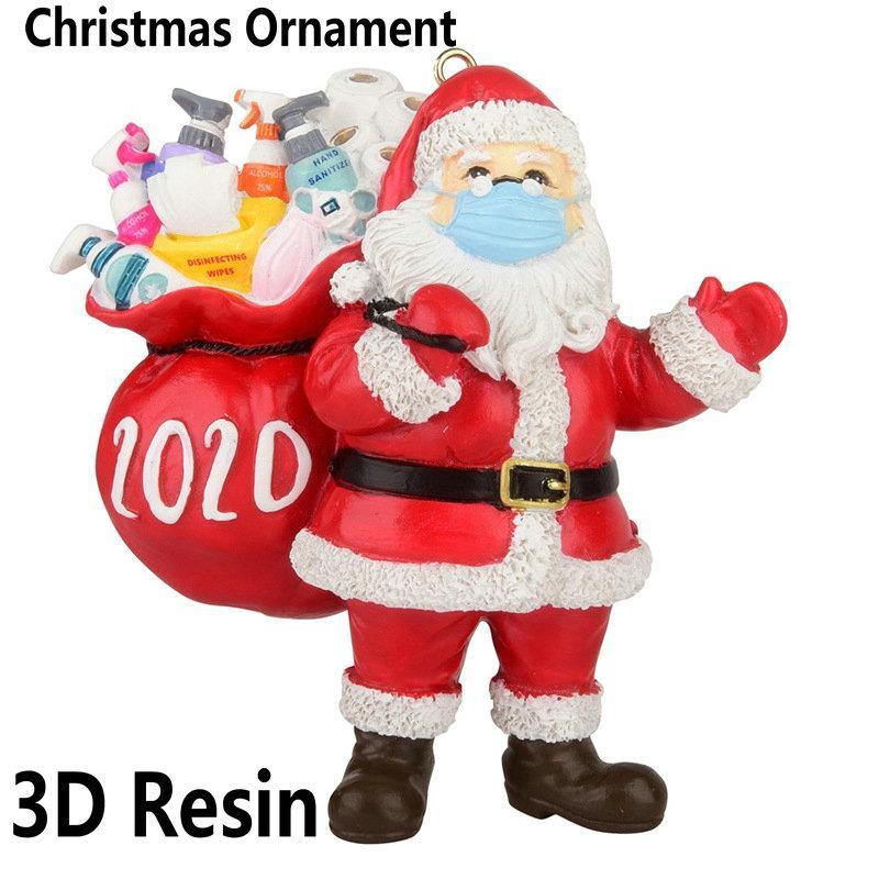 3D Смола Клаус Подарок 2020 Рождественский орнамент Кулон семьи подарков Украшение украшения партии Santa Xmas Tree Ornament