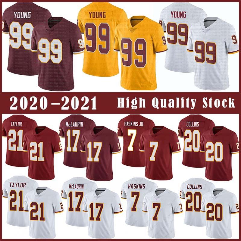 99 Chase Young Football Jersey 21 Sean Taylor 17 Terry McLaurin 7 Dwayne Haskins 20 Landon Collins Stitched Jerseys