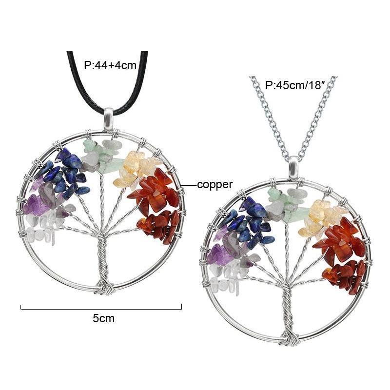 Árvore de vida Quartz Pingente Colar Rainbow 7 Chakra Multicolor Sintonia Natural Sabedoria Cadeia de Couro Ne Sqciqd Queen66