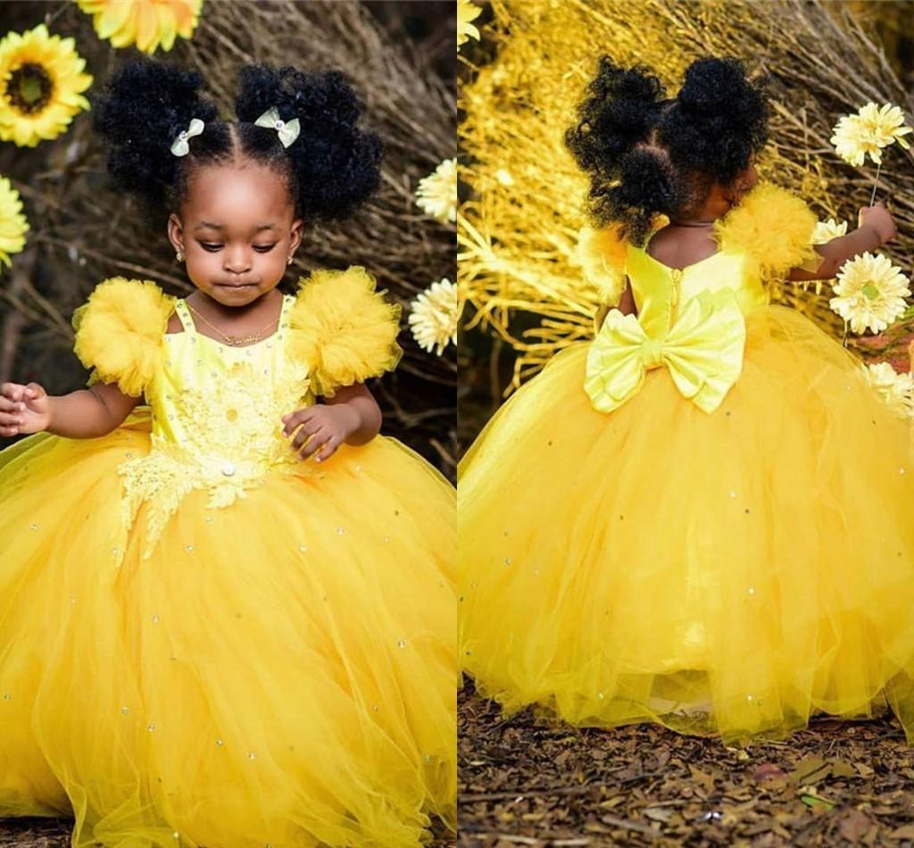 Palla Abiti Pageant giallo sveglio del bambino abito del partito di Tulle in rilievo grande arco Flower Girl Dress sera convenzionale degli abiti di bambini vestito della prima comunione