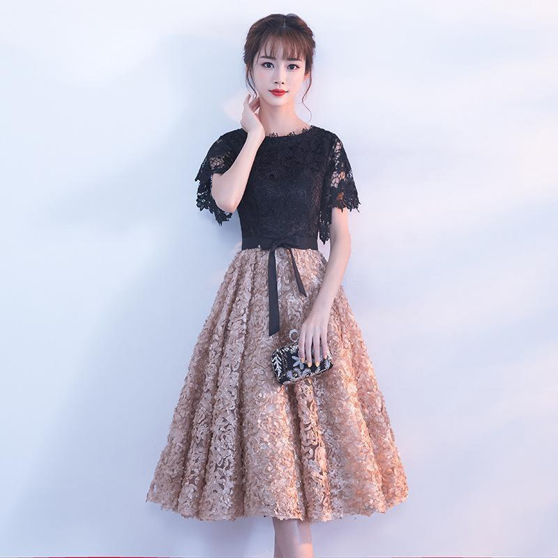 Этническая одежда Коктейльское платье вечеринка с коротким рукавом аппликации Цветочная иллюзия молния мода дизайнер элегантных платвей1