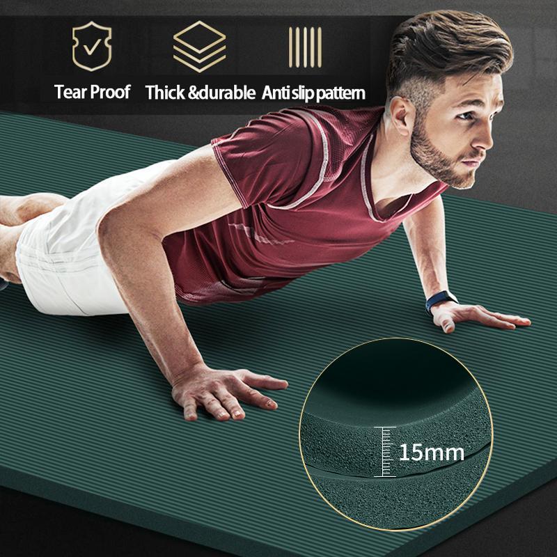 200 * 90 centímetros 15 milímetros Extra grossas NBR Yoga Mat alta qualidade exercício do esporte Mats Para Gym Home Fitness Tasteless Pads Exercício Ginástica