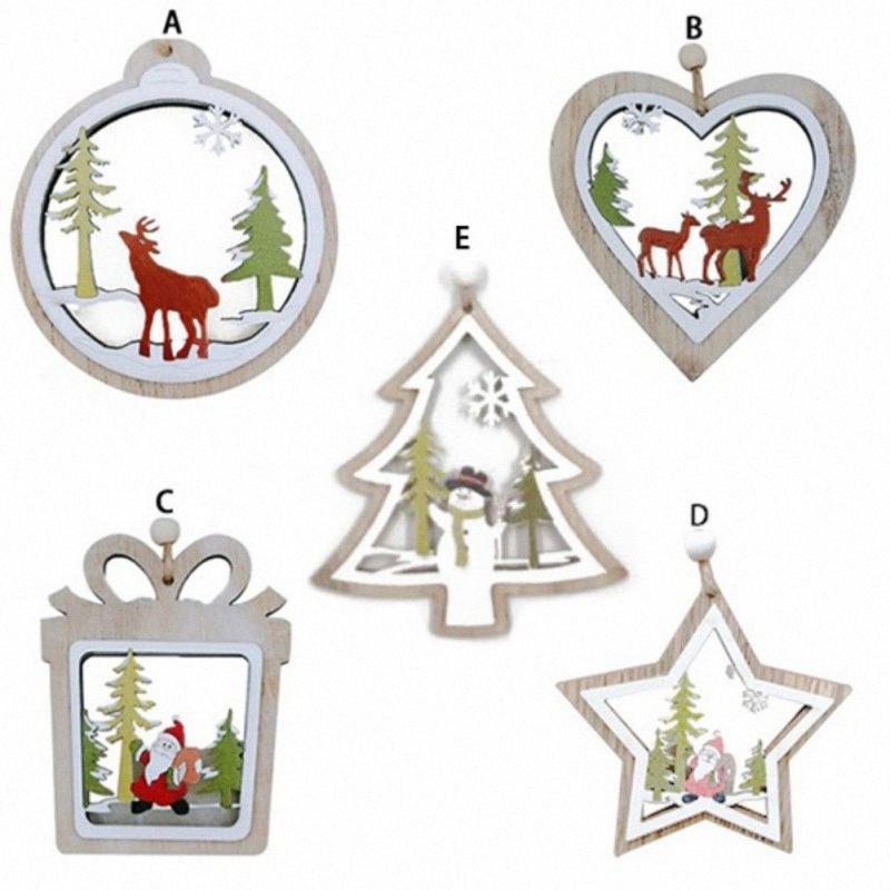 Fröhlicher Weihnachtsbaum aus Holz Anhänger Neujahr Holz hängend Geschenke Weihnachtsmann Deer Ornaments Für Privatanwender Weihnachten Zuhause-Party-Dekorationen Shop-F 3aOn #