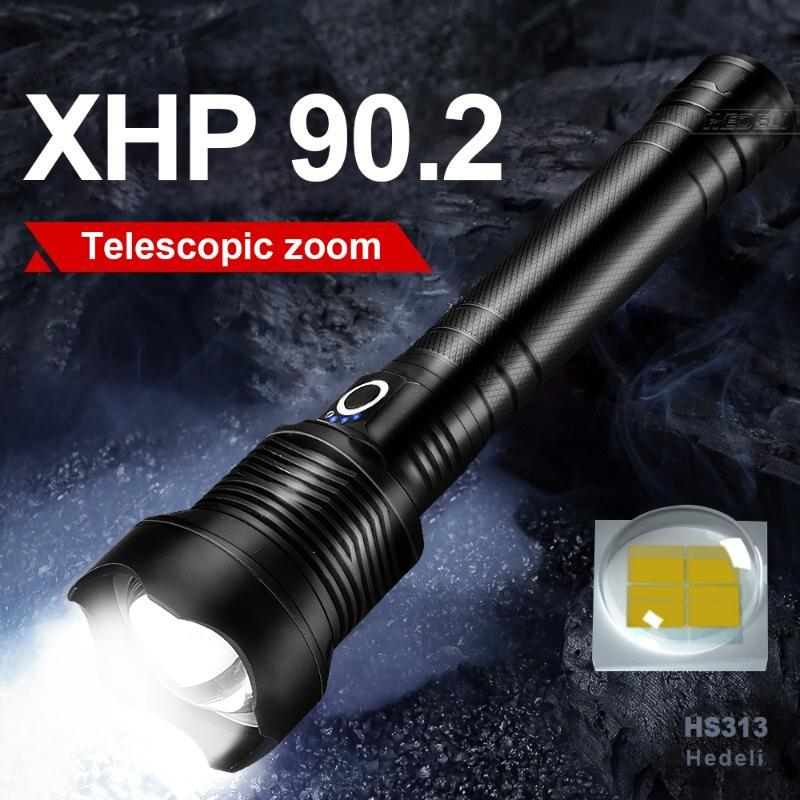 600000 LM XHP90.2 LED le plus puissant 18650 XHP70 P50 P50 USB CLASSE DE LAMIQUE DE LAMIQUE DE MAIN DE LA MAIN TACTIQUE