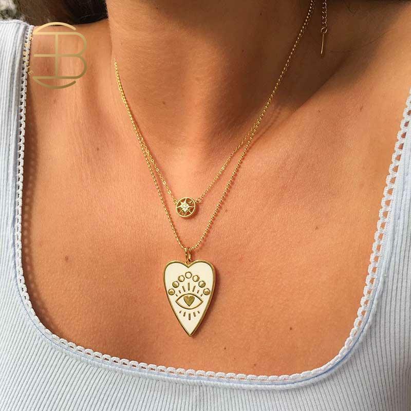 2020 أنيق الخرزة سلسلة عين الشر القلب طباعة المينا أسود أبيض القلب قلادة القلائد للنساء هدايا عيد الميلاد مجوهرات