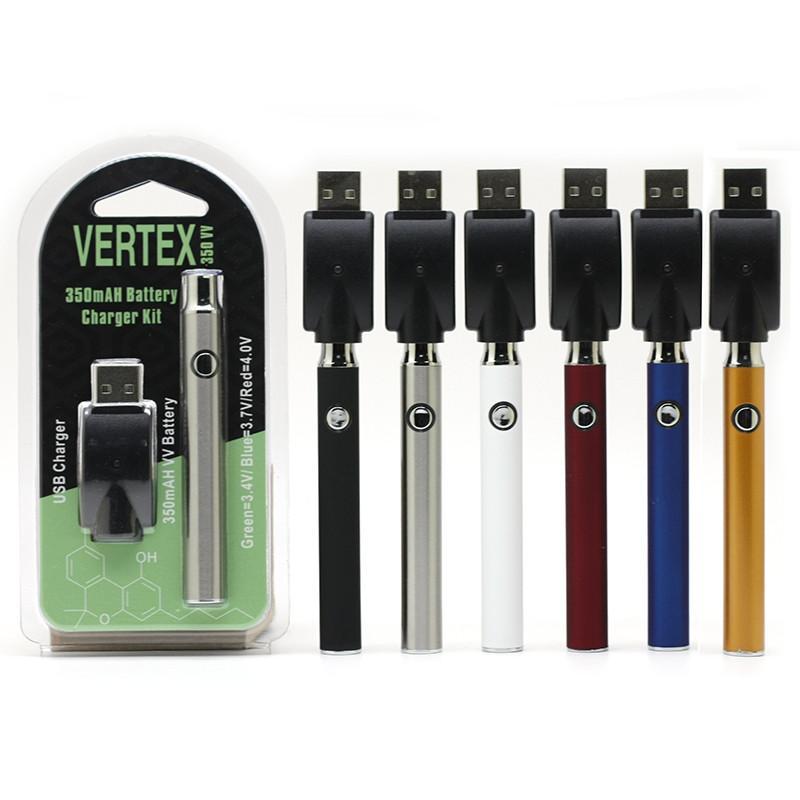 버텍스 예열 배터리 스타터 키트 CO2 오일 기화기 510 스레드 조정 가능한 350mAh USB 충전기 전자 담배