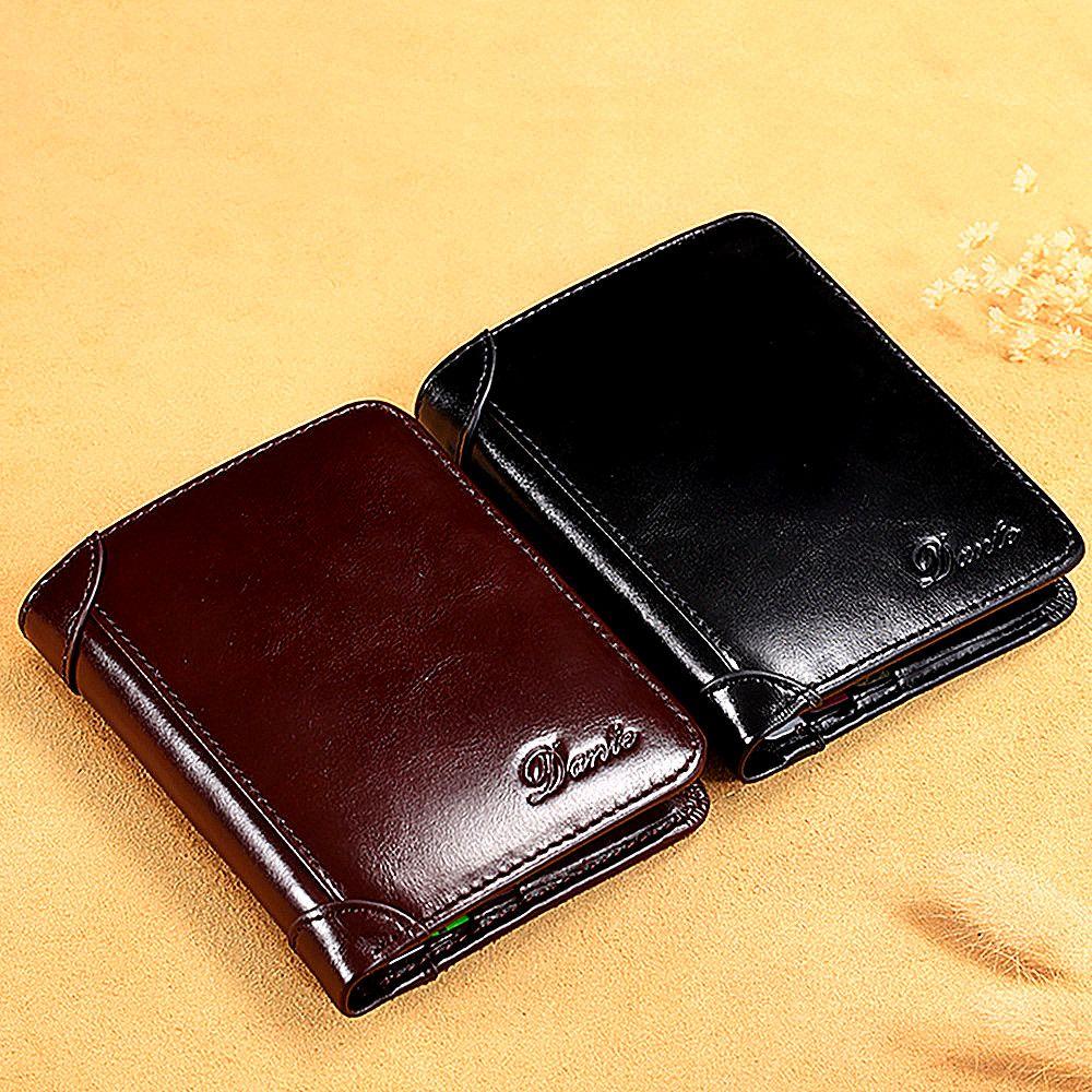Mens véritable portefeuille portefeuille porte-monnaie volume de la cire de la cire rétro cuir portefeuille portefeuille courte casual anti-multifonction porte sac à main FVEBC