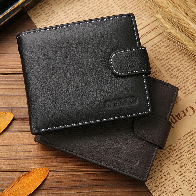 Men's Soft Leather Bifold Id Credit Card Holder Coin Zip Purse Wallet Billfold Black Coffee
