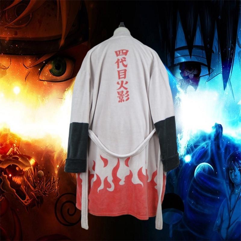 Anime Naruto Thermal Flannel Bathrobe Akatsuki Cosplay Costume Robe Sasuke itachi cloak Winter Thick Dressing Gown B82001 201126