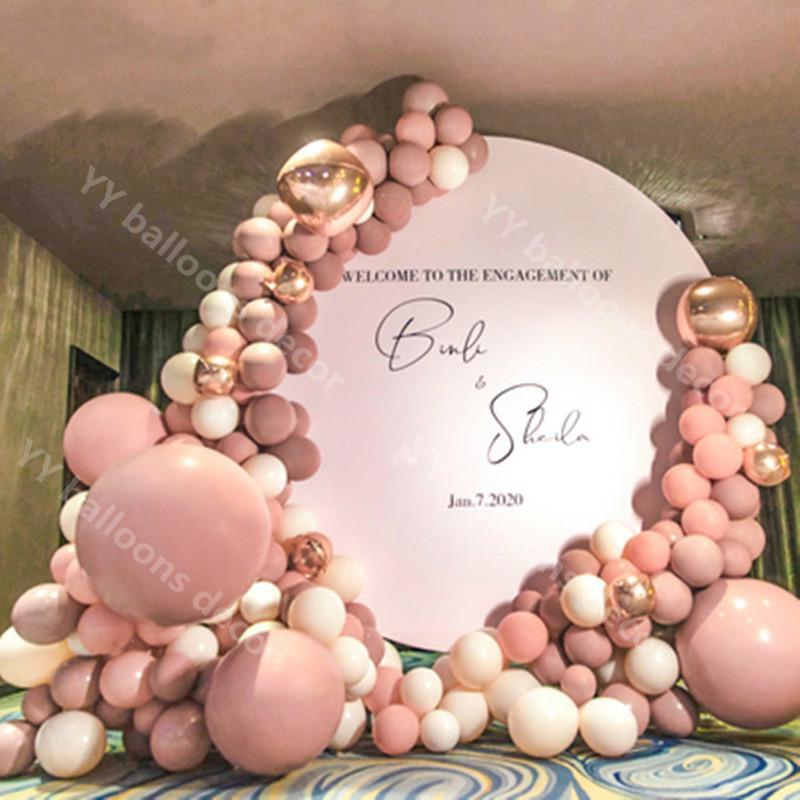 Fai da te pasta pelle rosa oro decorazione decorazione palloncini ghirlanda arco kit metallico 4d oro ballon bambino doccia decorazioni sfondo T200624
