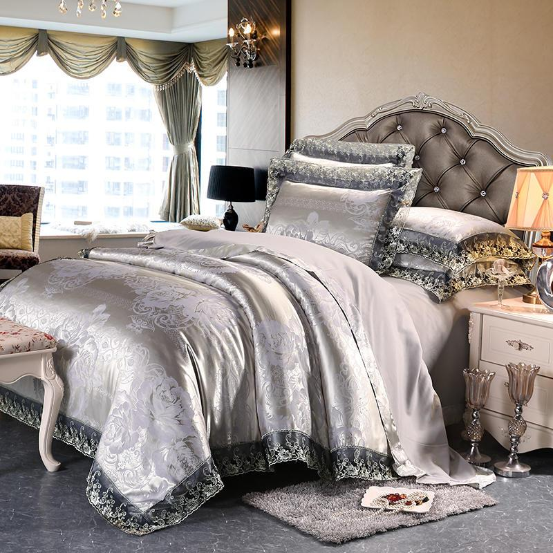 Europa Estilo 4pcs cobertas de manchas conjunto de cama jacquard rainha cama king size set 4pcs set rendas duvet folha de cama cobertura fronhas Home Textile