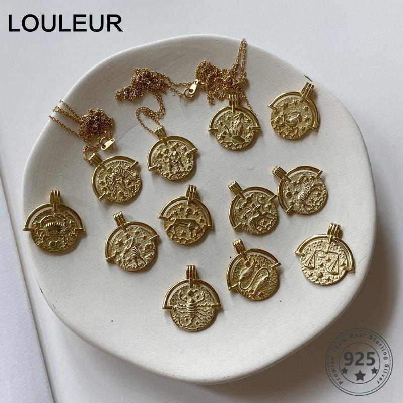 Louleur 925 Созвездие ожерелье стерлингового серебра Двенадцать золота Emboss зодиака ожерелье для женщин Серебро 925 ювелирных изделий Золото 1020