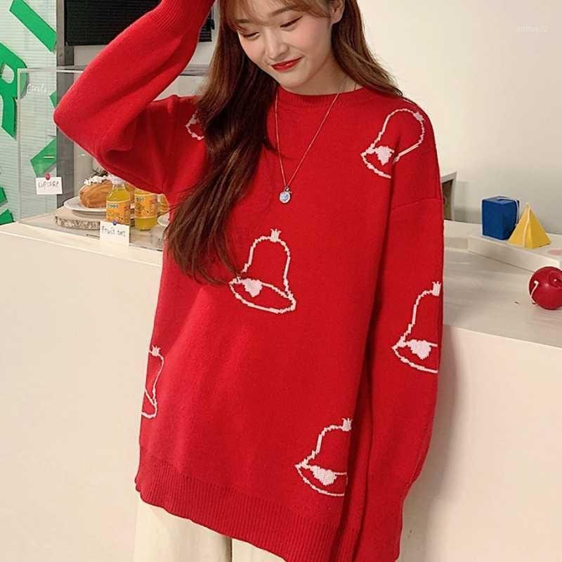 2021 Nouvel Automne et hiver Nouvel An Rouge Bells Ronde Coulée Rond Sweater Femmes Loose Pays Casual Jacket Mince Sweater1