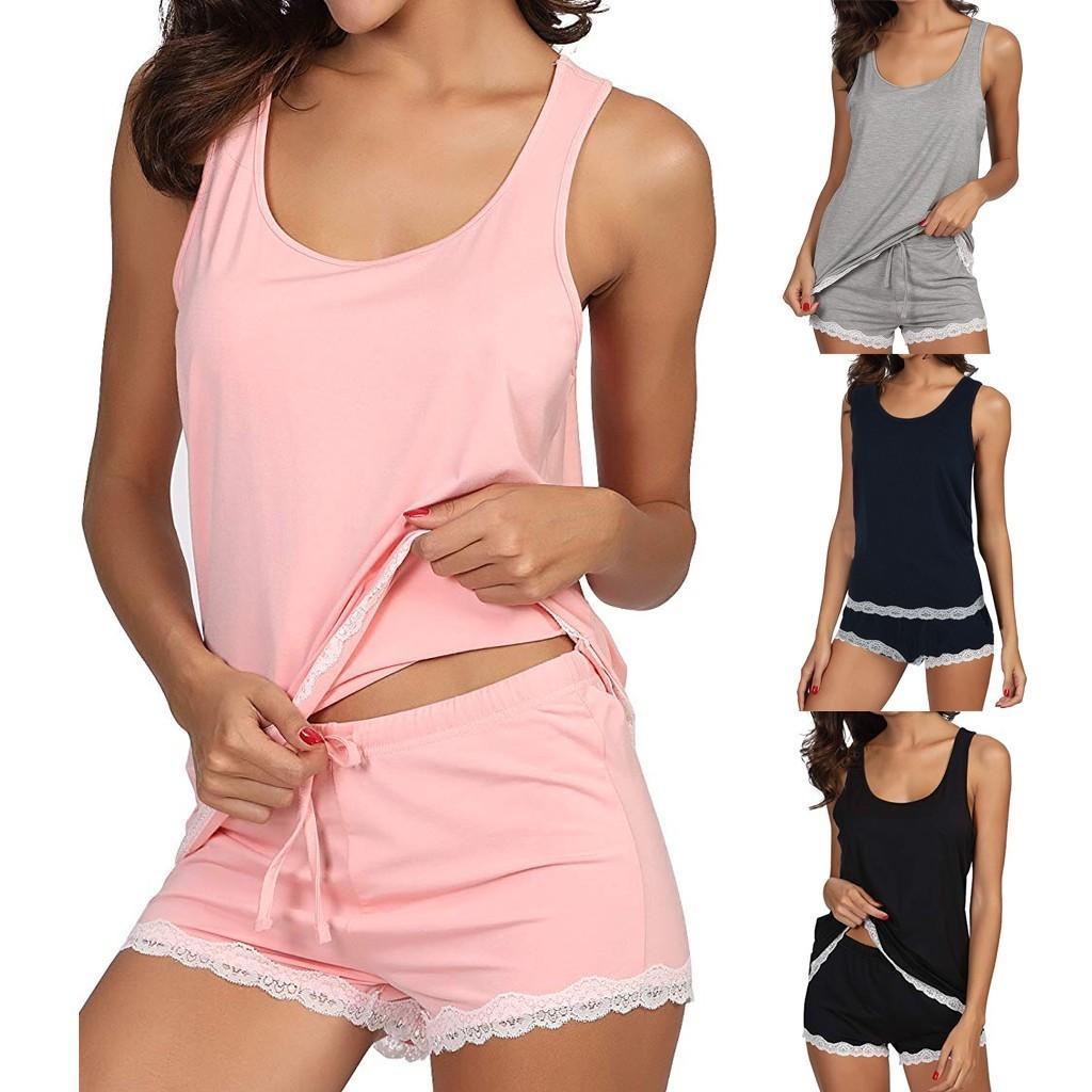 Bambú ropa de las mujeres de verano de los pijamas del tanque V-cuello de la ropa de noche de algodón pijama de las mujeres y los cortocircuitos de la ropa interior Mujer