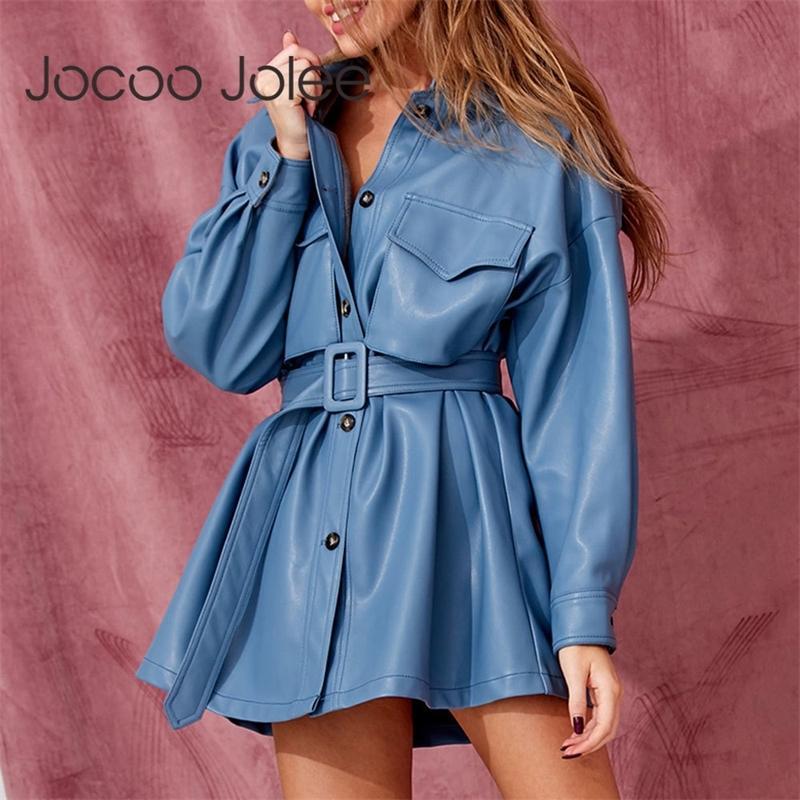 JOCOO JOCOO JOLEE MANGUELA PU Cuero A-Línea Vestido Spring Single Breasted Slim Cinturón Vestido corto Ropa Streetwear Mujeres Trajes Nuevo T200809
