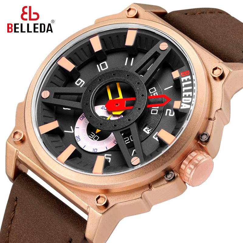 Marca di lusso Belleda Militare da uomo sportivo da uomo per uomo da appuntamento analogico al quarzo analogico, rosa oro, orologio casual, orologio in pelle