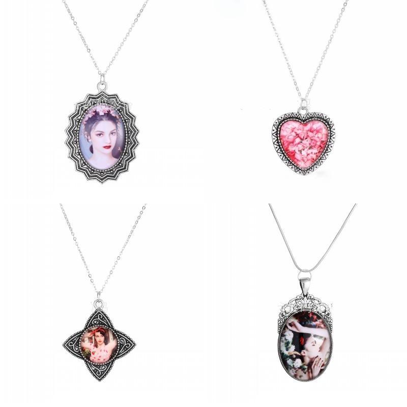 Sublimação de liga em branco Cadeia de jóias mulheres transferência térmica impressão moda banhado pingentes de prata colares diy personalidade 7 5mk j2