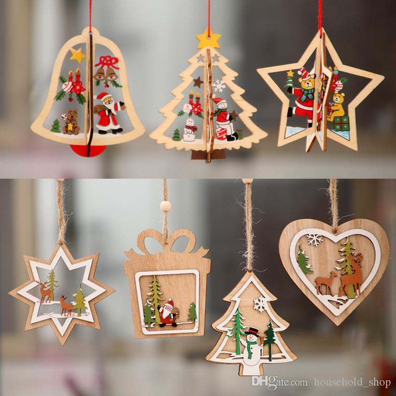 Çocuk A04 için Küçük Noel Süsleri Noel Süs Ağacı Ahşap Noel kolye Ahşap Beş köşeli yıldız Bell kolye Hediye