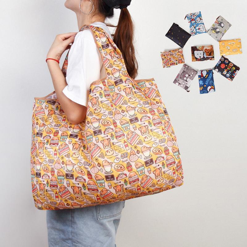 Stampa di modo pieghevole Eco-Friendly Shopping Tote Bag pieghevole Pouch borse conveniente grande capacità per la corsa del sacchetto di drogheria