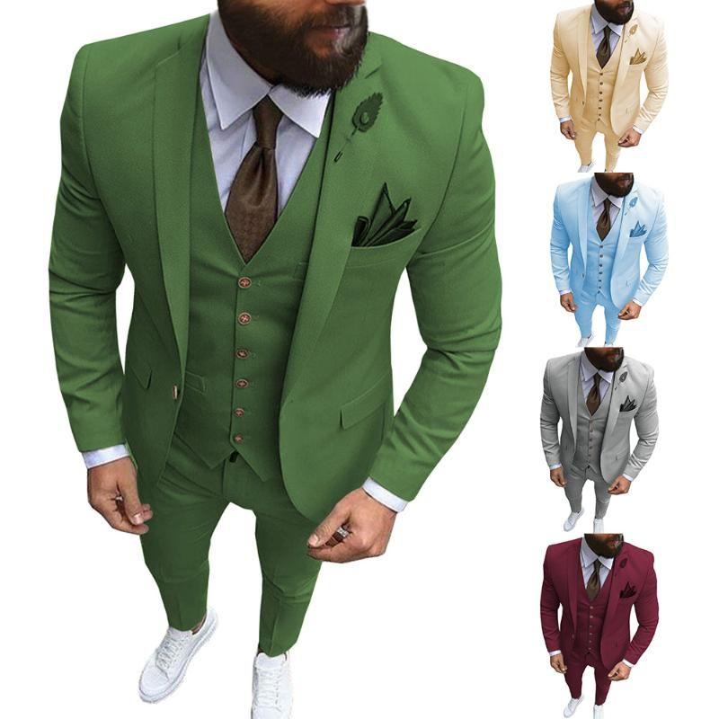 Aesido formelles Suits Slim Fit 3 Pièces Prom Smokings Vert Olive solide Veste de mariage Grooms Blazer Gilet Pantalon 2020