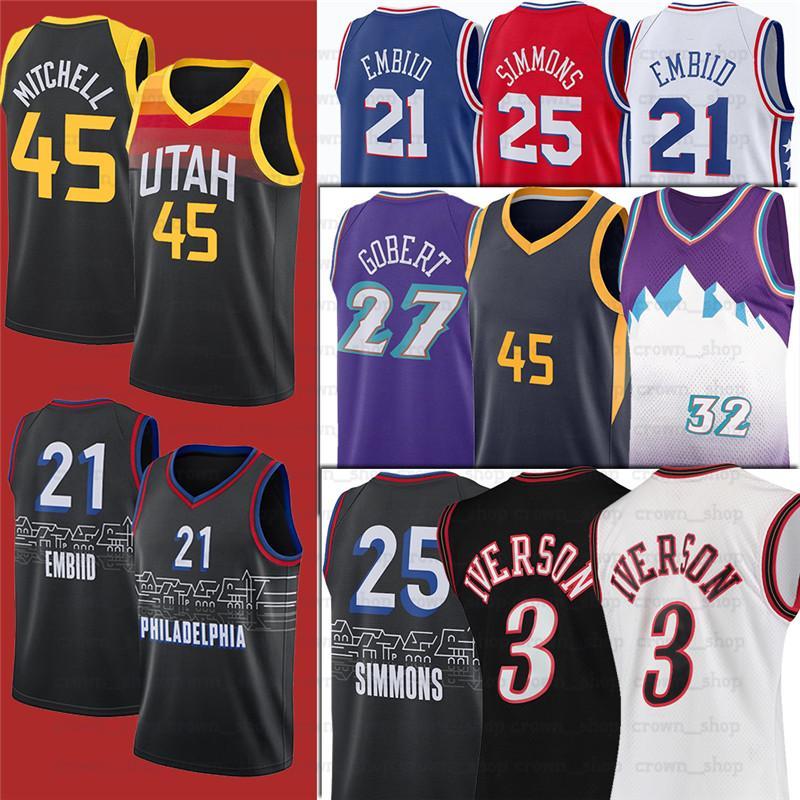 3 Iverson NCAA 45 Donovan Allen 25 Ben 21 Joel Simmons Embiid Gobert Mitchell Jersey Rudy Basketball Camisas