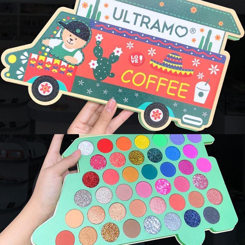 ULTRAMO CAFÉ CAR Natal Maquiagem Eyeshadow Pelette 43 Cores alta Neon Pigmentos Matte Sombra Paleta Glitter Eye Sombra