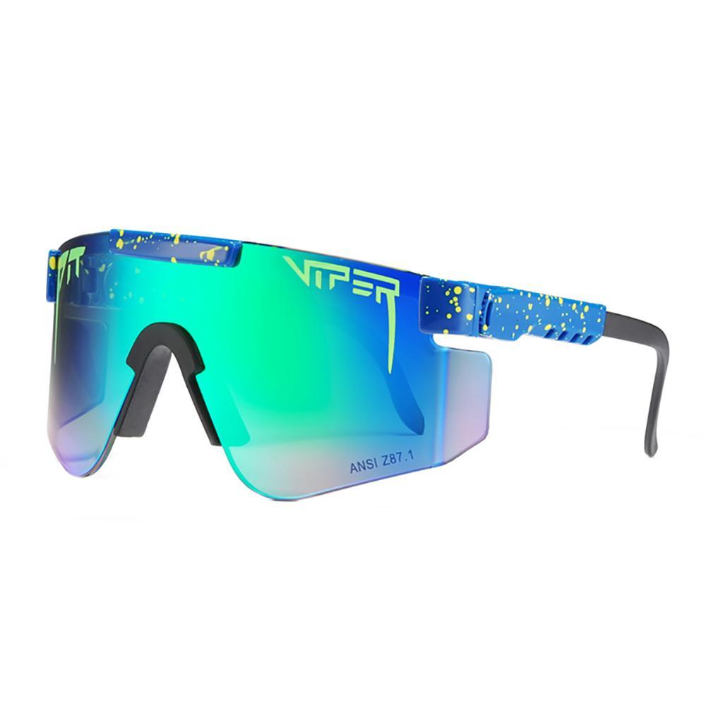 Pit Viper Sport com caixa de pacote duplo largo polarizado espelhado frame de lente 1993 Óculos de sol