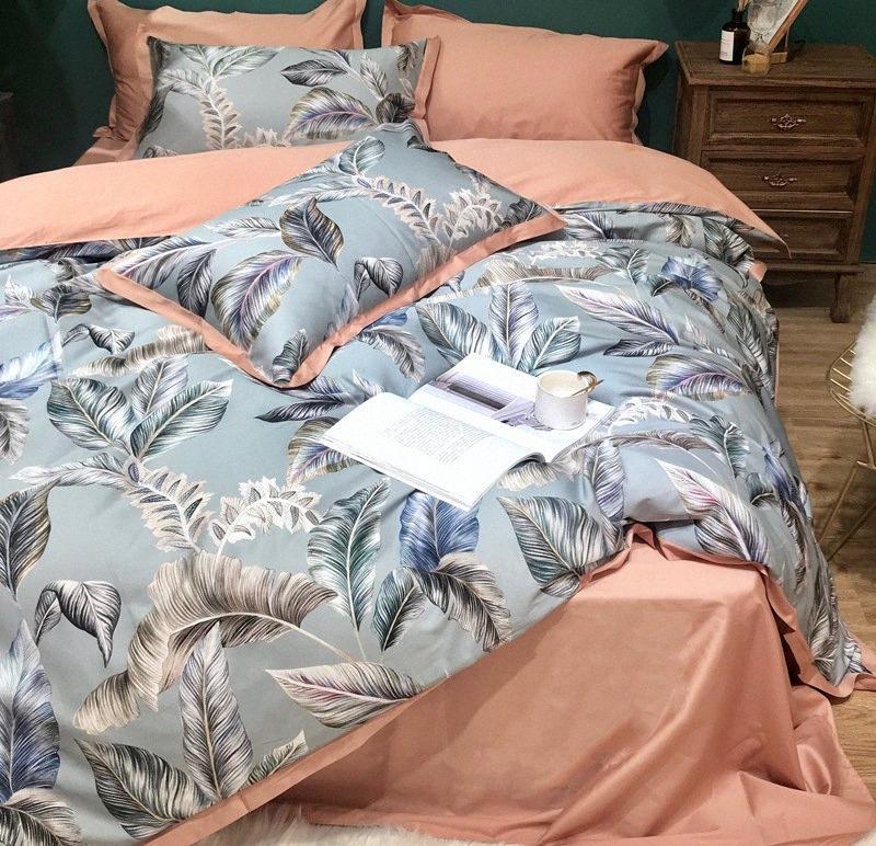 Envío libre Textiles para el hogar populares del estilo del campo del lecho 100% puro algodón rosa funda de edredón Plantado Bedsheet regalo de las muchachas kGw2 #