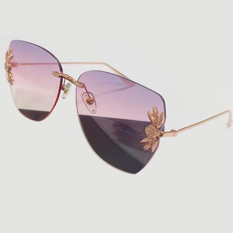 Con UV400 Occhiali da sole frameless Donne Donne Rettangolo originale Marca Floral Uomo Eyeglasses New Design Box Vintage ASXC