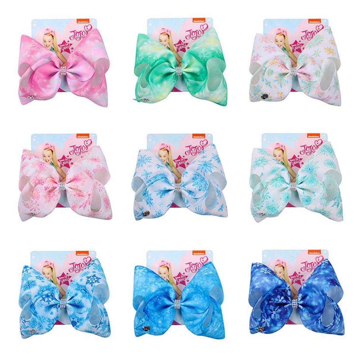 2020 Девушки Swia Bows Clip Clip Bows Снежинка Парикмахерские Барьерки Для Детских Прикосновение Прикосновение Принадлежности для волос С Картонным Новым Стиль