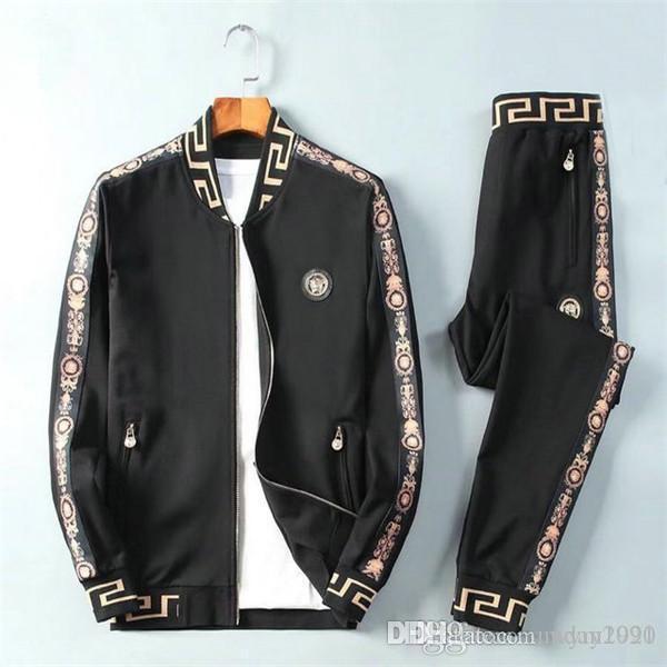 Yeni ürün sıcak satış erkek kazak pantolon takım bahar spor eğlence sporları iki parçalı ceket + pantolon erkek iki parçalı spor
