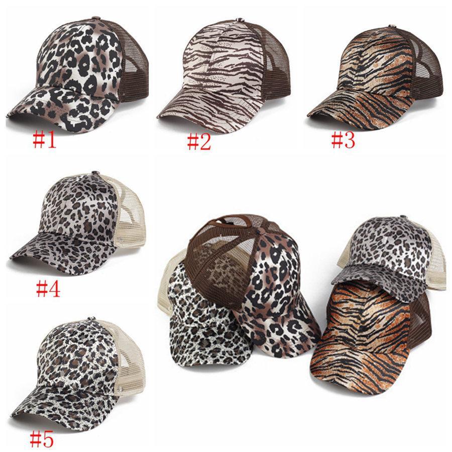 Leopard Bonés de Beonytail Bonés Lavados Buns bagunçados Chapéus Trucker Pony Cap Unisex Visor Cap Hat Snapbacks Outdoor Caps Party Hats RRA3779