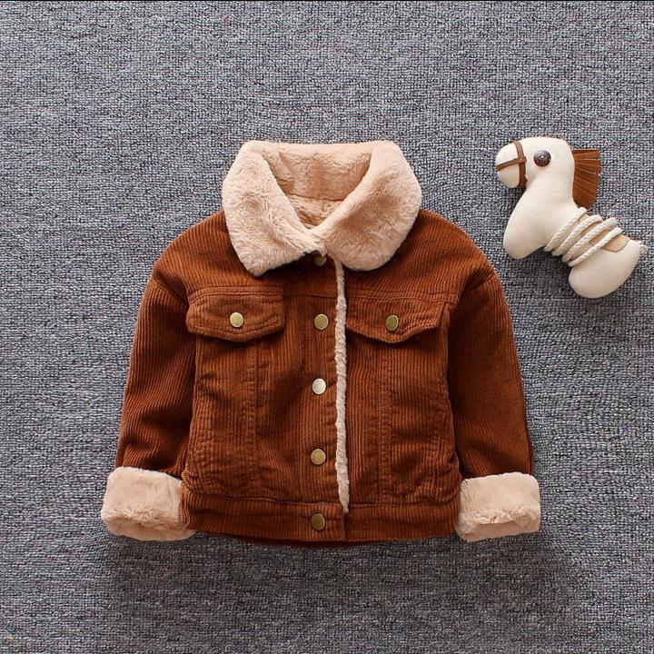 Meninas meninas meninos casual inverno casaco quente para crianças casaco de algodão pelúcia crianças lapela outerwear 0-3 y criança roupas de natal