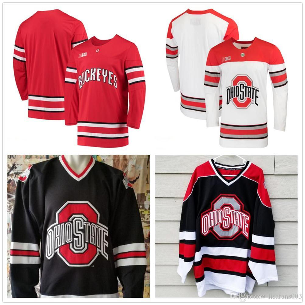 Пользовательские NCAA Ohio State Buckeyes любое имя номер мужские молодежные лед хоккейные майки Персонализированные вышивка Колледж Big Ten прошитой Трикотажные