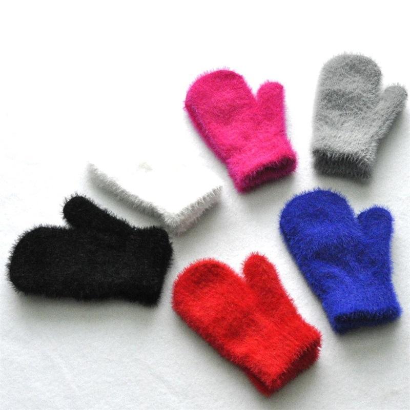 Прекрасные перчатки из искусственной норки волос плюша Утолщение Держите Теплые перчатки Мода смазливая Сплошной цвет Дети Варежки New Pattern 2 55qs K2
