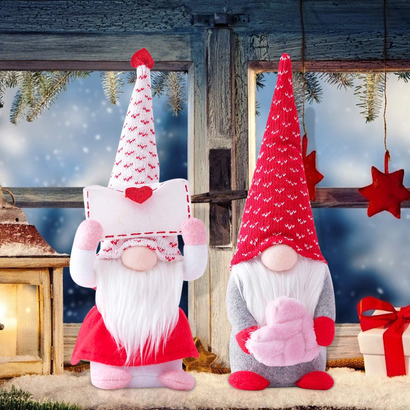 Dia dos namorados Decorações de gnome, boneca de pelúcia de elfo artesanal, Sr. e Sra. Scandinavian Tomte para o ornamento da mesa do dia dos namorados, presentes dos namorados