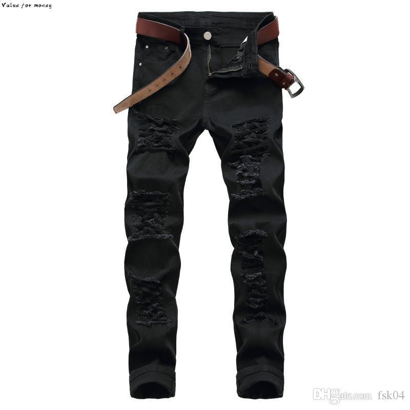 jeans rectos en dificultades ajustado del dril de algodón de los pantalones de los hombres pantalones vaqueros de diseñador de moda de sexo masculino rojo blanco más tamaño