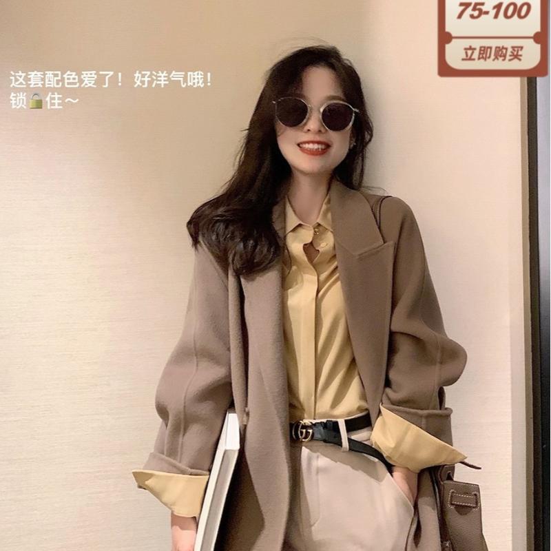 Lana de las mujeres Bonnie Bonnie Coat ~ Tweed Media Largo 100 pieza Quan Double cara de cara otoño e invierno MN0019