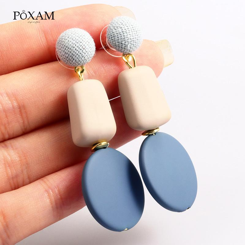 Acrylic Big Button Drop Earrings for Women Girl Geometric Square Round Summer Party 2020 Female Earring Jewelry
