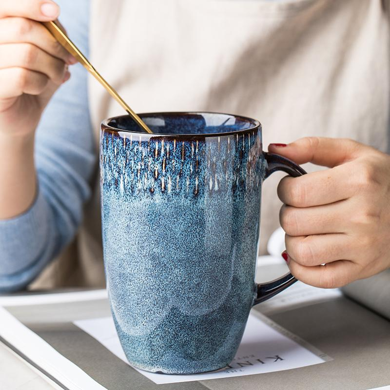 600ml European Retro Ceramic Tall Cup Blue Coffee Mug with Handgrip Large Capacity Household Office Drinking Mugs and Cups Gifts T200506