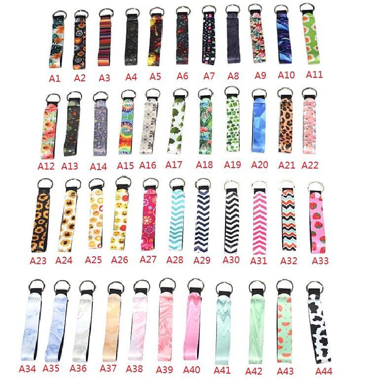 44 Estilos de neopreno mitón llavero del bádminton bolsa Clave sostenedor de la cadena impreso colorido de la muñeca clave de la correa del leopardo del anillo dominante