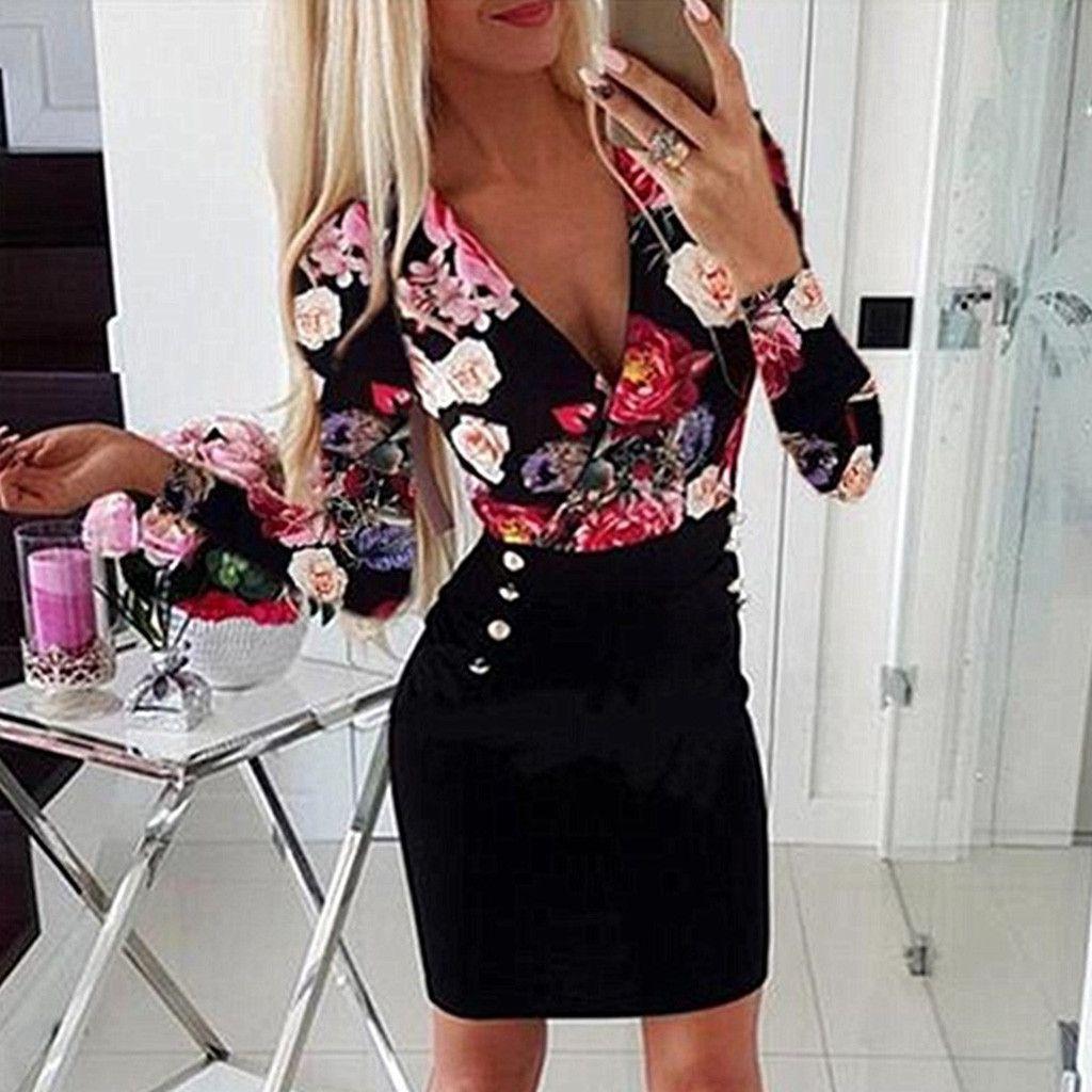 Women Plus Size Dress Sexy V Neck Long Sleeve Rose Printed Button Party Mini Dresses Elgant Bodycon Dresses Woman Party Dress
