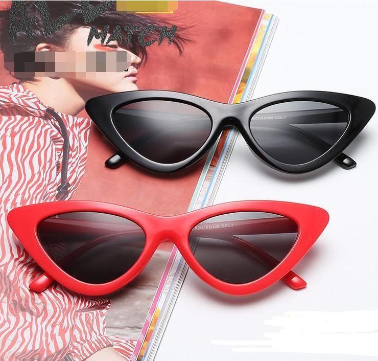 Новые очки для солнцезащитных очков для кошек 18 цветов Красочные моды Cateye Солнцезащитные очки Женщины Очки Треугольные очки