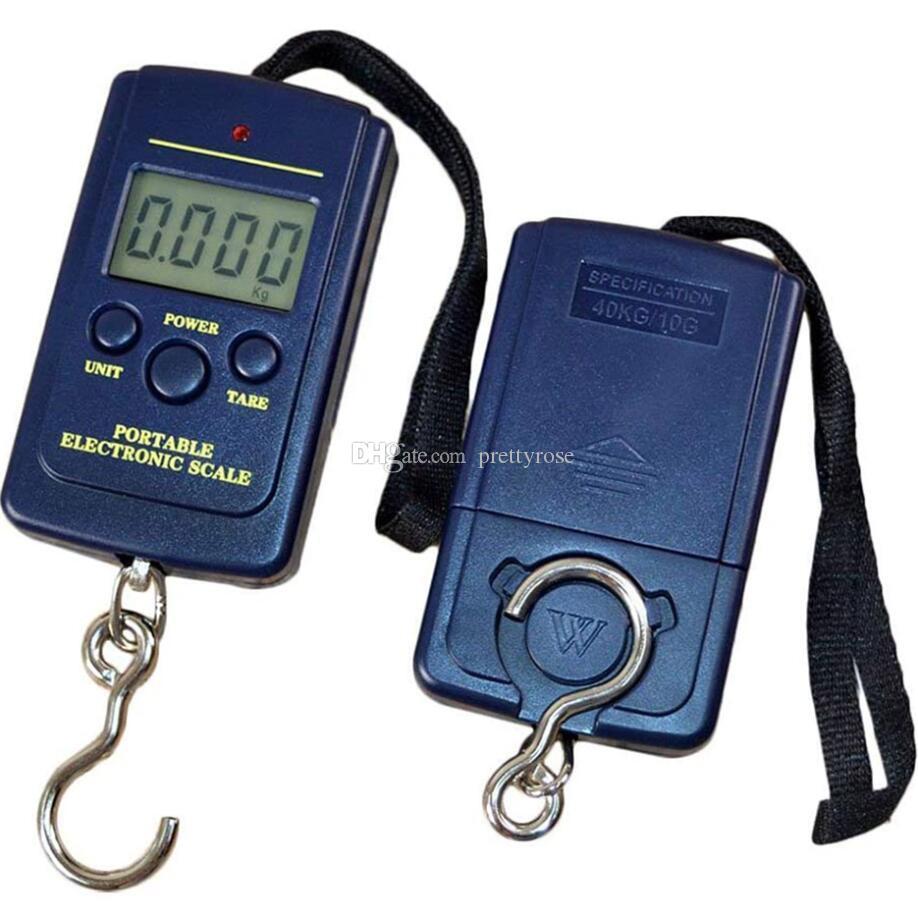 Portátil Mini Mano Escala de suspensión digital para la maleta Bolsa de viaje Ponderación electrónica Ponderación de equipaje Balance de gancho de pescado 40kg / 10g